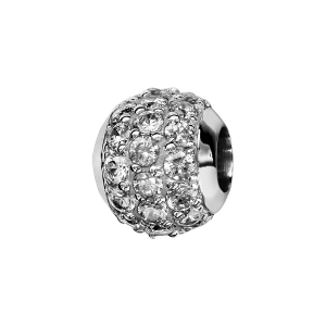 CHARMS COULISSANT ARGENT RHODIE BOULE 3 RANGS OXYDES BLANCS SERTIS
