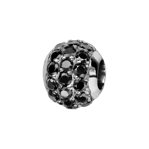 CHARMS COULISSANT ARGENT RHODIE BOULE 3 RANGS PIERRES NOIRES SERTIS SYNTH