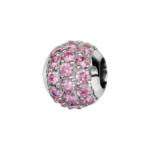 CHARMS COULISSANT ARGENT RHODIE BOULE PIERRES ROSES SERTIS SYNTHETIQUE