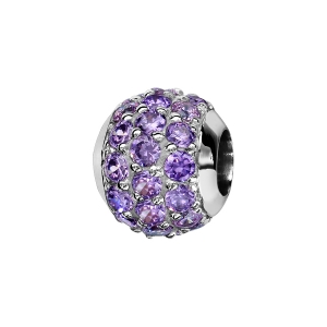 CHARMS COULISSANT ARGENT RHODIE BOULE PIERRES MAUVES SERTIS SYNTHETIQUE