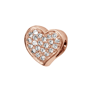 CHARMS COULISSANT ARGENT ET DORURE ROSE COEUR MICRO OXYDES BLANCS SERTIS RECTO VERSO