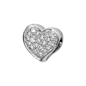 CHARMS COULISSANT ARGENT RHODIE COEUR MICRO OXYDES BLANCS SERTIS RECTO VERSO