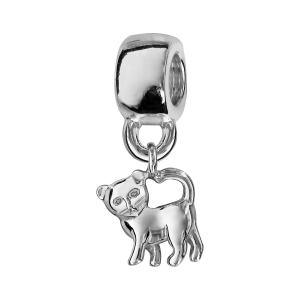 CHARMS COULISSANT ARGENT RHODIE SUSPENDU CHAT  RECTO VERSO