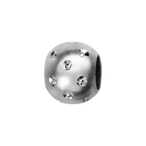CHARMS COULISSANT ARGENT RHODIE BOULE SATINEE ET DIAMENTEE 10x5MM