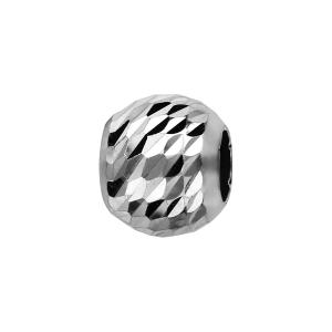 CHARMS COULISSANT ARGENT RHODIE BOULE FACETEE LOSANGE 10x5MM