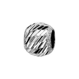 CHARMS COULISSANT ARGENT RHODIE BOULE DIAMANTE BIAIS 10x5MM