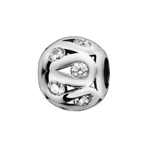 CHARMS COULISSANT ARGENT RHODIE BOULE SINUEUSE AJOUREE OXYDES BLANCS