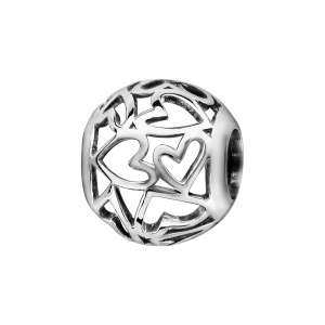 CHARMS COULISSANT ARGENT RHODIE BOULE COEURS AJOURES