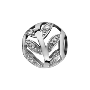 CHARMS COULISSANT ARGENT RHODIE BOULE FEUILLE AJOUREE OXYDES