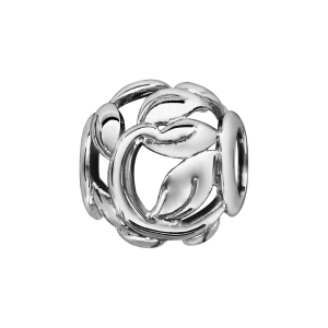 CHARMS COULISSANT ARGENT RHODIE BOULE FEUIILES