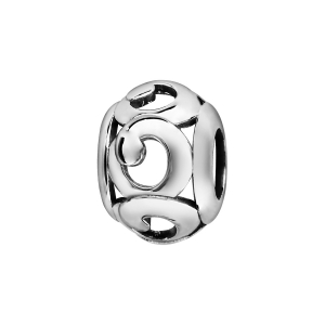 CHARMS COULISSANT ARGENT RHODIE BOULE VOLUTES