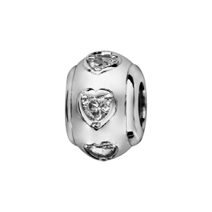 CHARMS COULISSANT ARGENT RHODIE BOULE COEURS OXYDES