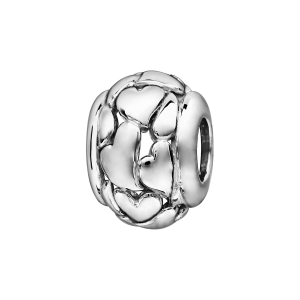 CHARMS COULISSANT ARGENT RHODIE BOULE COEURS STYLISES AJOURES
