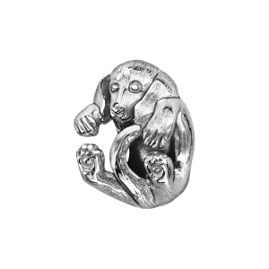 CHARMS COULISSANT ARGENT RHODIE CHIEN ENROULE