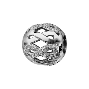 CHARMS COULISSANT ARGENT RHODIE BOULE MOTIFS INFINIS OXYDES BLANCS SERTIS