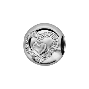 CHARMS COULISSANT ARGENT RHODIE BOULE COEURS OXYDES BLANCS SERTIS