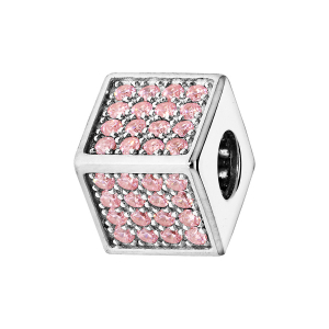 CHARMS COULISSANT ARGENT RHODIE CUBE EMPIERRE 64 OXYDES ROSE