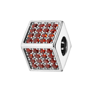 CHARMS COULISSANT ARGENT RHODIE CUBE EMPIERRE 64 OXYDES ROUGES