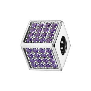 CHARMS COULISSANT ARGENT RHODIE CUBE EMPIERRE 64 OXYDES VIOLET