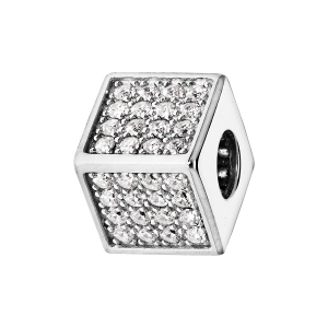 CHARMS COULISSANT ARGENT RHODIE CUBE EMPIERRE 64 OXYDES BLANCS