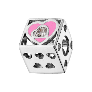 CHARMS COULISSANT ARGENT RHODIE CUBE AVEC COEURS RESINE ROSE ET OXYDE BLANC
