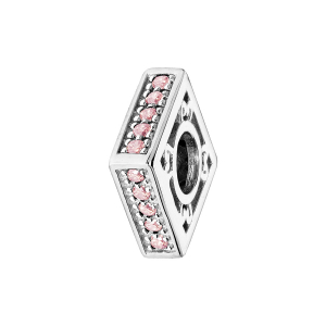 CHARMS COULISSANT ARGENT RHODIE CARRE EMPIERRE ROSE