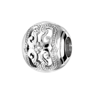 CHARMS COULISSANT ARGENT RHODIE OXYDE BLANC SERTI