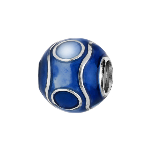 CHARMS COULISSANT ARGENT RHODIE ZIG ZAG RESINE BLEUE