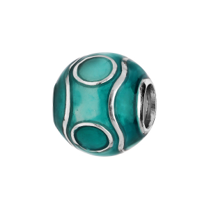 CHARMS COULISSANT ARGENT RHODIE ZIG ZAG RESINE COULEUR TURQUOISE