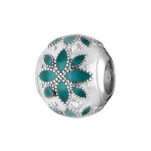 CHARMS COULISSANT ARGENT RHODIE MOTIF FLEUR  RESINE TURQUOISE