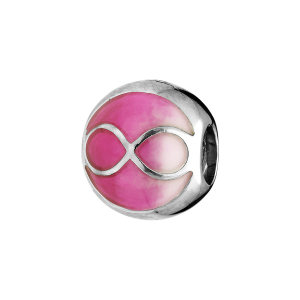 CHARMS COULISSANT ARGENT RHODIE INFINI RESINE FUSCHIA