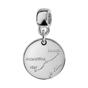 CHARMS COULISSANT ARGENT RHODIE ROND COURBE D'AMOUR