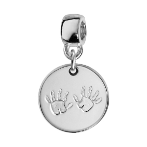 CHARMS COULISSANT ARGENT RHODIE ROND EMPREINTE 2 MAINS