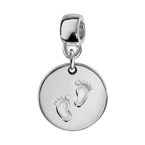 CHARMS COULISSANT ARGENT RHODIE ROND EMPREINTE 2 PIEDS