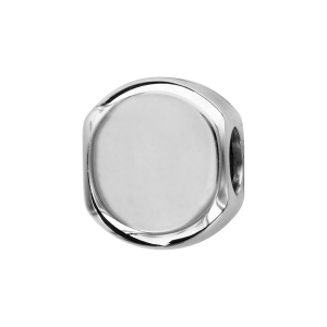 CHARMS COULISSANT ARGENT RHODIE ROND 10MM  LISSE MODERNE A GRAVER RECTO VERSO