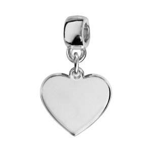 CHARMS COULISSANT ARGENT RHODIE COEUR VIERGE A GRAVER.