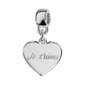 CHARMS COULISSANT  ARGENT RHODIE COEUR JE T'AIME