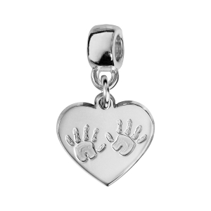 CHARMS COULISSANT ARGENT RHODIE COEUR EMPREINTE 2 MAINS