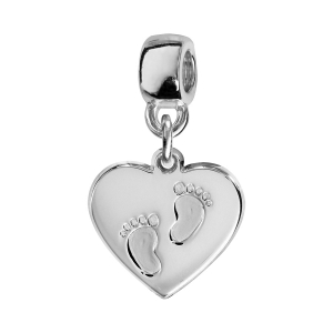 CHARMS COULISSANT ARGENT RHODIE COEUR EMPREINTE 2 PIEDS