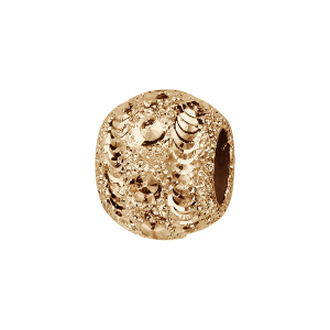 CHARMS COULISSANT PLAQUÉ OR BOULE DIAMANTEE GIVREE 10x5MM
